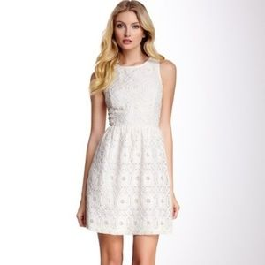 Kensie White Lace Fit and Flare Dress Small